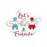 与题字`的例证让` s是朋友`和两个人女孩和男孩 免版税库存照片