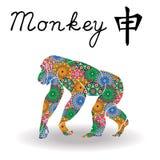 与颜色几何花的中国黄道带标志猴子 免版税库存照片