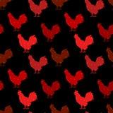 与颜色剪影雄鸡的无缝的圆点样式 蓝色圣诞节花例证装饰品影子 免版税库存图片
