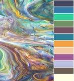 与颜色取样器的彩色玻璃 库存照片