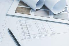 与颜色和材料样品的建筑画纸为 库存图片