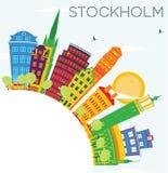 与颜色大厦、蓝天和拷贝空间的斯德哥尔摩地平线 皇族释放例证