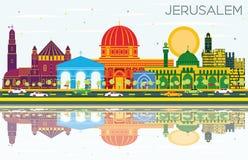 与颜色大厦、蓝天和Refl的耶路撒冷以色列地平线 皇族释放例证