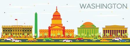 与颜色大厦和蓝天的华盛顿特区地平线 皇族释放例证