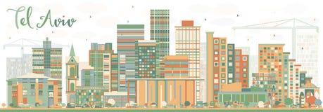 与颜色大厦的抽象特拉维夫地平线 皇族释放例证