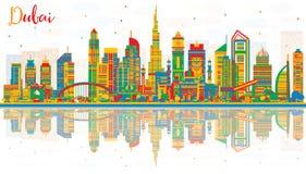 与颜色大厦的抽象迪拜阿拉伯联合酋长国市地平线和反射 图库摄影
