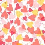 与颜色心脏无缝的样式的浪漫假日样式 库存照片
