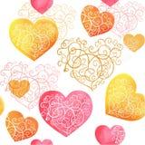 与颜色心脏的水彩 免版税库存图片
