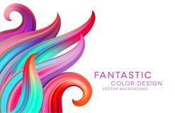与颜色意想不到的波浪和花卉纸卷的抽象背景 现代五颜六色的流程海报 波浪液体形状 艺术 库存例证