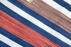 与颜色条纹的被编织的布料作为背景 库存照片