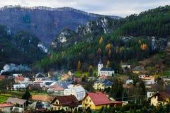 与颜色树的秋天风景 免版税图库摄影