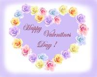 与颜色玫瑰和心脏的华伦泰的贺卡 皇族释放例证