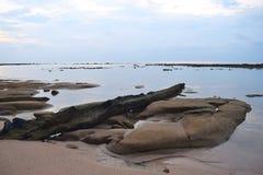与颜色的干净的自然水身体在早晨天空和不规则的土地 免版税库存图片