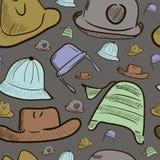 与颜色盖帽和帽子的无缝的纹理 库存图片