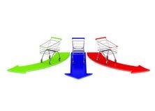 与颜色箭头的空的颜色购物车 免版税图库摄影
