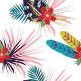 与颜色野花和叶子的无缝的热带样式 与植物作为纹理,织品,衣裳的草本设计 传染媒介Illust 皇族释放例证