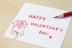 与颜色铅笔的愉快的情人节字词 库存图片