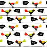 与颜色雄鸡的农历新年样式在导线 免版税库存照片