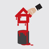 与颜色Painted的家庭形状能 免版税图库摄影
