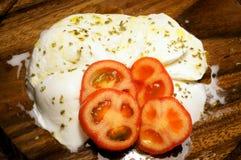 与额外处女橄榄油的开胃无盐干酪 库存照片