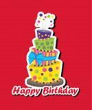 与颠倒的蛋糕的生日贺卡 免版税库存照片