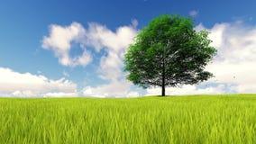 与风动画的风景唯一树 向量例证