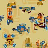 与风格化动物和标志的部族样式 免版税库存图片