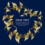 与风格化叶子的金花卉边界 免版税库存图片