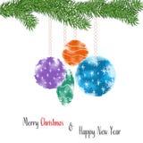 与风格化圣诞节装饰巫婆杉木分支,水彩作用的圣诞卡 库存图片