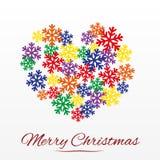 与风格化心脏的圣诞卡从雪花 免版税库存照片