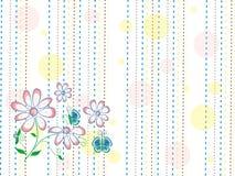 与风格化春天桃红色的纹理开花和在白色背景的蓝色蝴蝶与黄色,蓝色和棕色线和小点 免版税库存照片