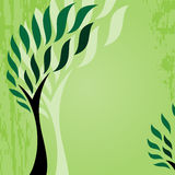 与风格化树的卡片在难看的东西背景,逗人喜爱的绿色抽象树 库存照片