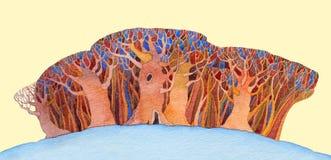 与风格化树的水彩背景 库存例证