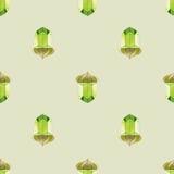 与风格化橡子的无缝的季节性样式在淡绿色的背景 免版税库存照片