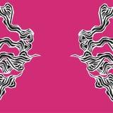 与风格化波浪的海洋无缝的样式在桃红色背景 水波摘要设计 被传统化的黑海草 库存例证