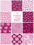 与风格化玫瑰的十一个无缝的样式 免版税库存照片
