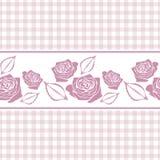与风格化玫瑰的无缝的方格的背景 库存图片