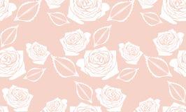 与风格化玫瑰的无缝的桃红色背景 免版税库存照片