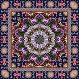 与风格化种族样式的班丹纳花绸印刷品 印地安,波斯,土耳其,摩洛哥动机 向量例证