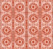 与风格化红色花的抽象样式 免版税库存图片