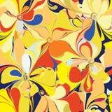 与风格化花的无缝的五颜六色的样式 免版税库存照片