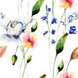 与风格化花的无缝的样式 库存图片