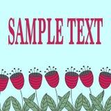 与风格化花的花卉卡片 抽象红色风铃草线  库存照片