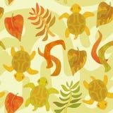 与风格化草龟和植物的无缝的样式 免版税库存照片