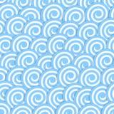 与风格化蓝色的无缝的样式挥动海浪 向量例证