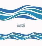 与风格化蓝色的海洋无缝的样式在光挥动  向量例证