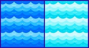 与风格化蓝色的海洋无缝的样式在轻的背景挥动 水波海海洋摘要传染媒介设计艺术 皇族释放例证