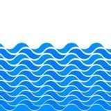 与风格化蓝色的海洋无缝的样式在轻的背景挥动 水波海海洋摘要传染媒介设计艺术 库存例证