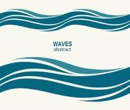 与风格化蓝色的海洋无缝的样式在光挥动  库存照片