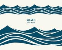 与风格化蓝色的海洋无缝的样式在光挥动  库存图片
